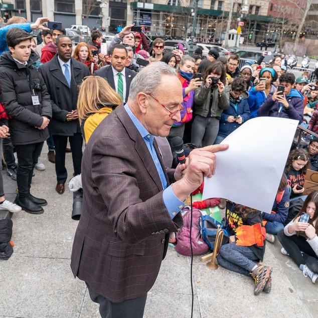 U.S. Senator Charles Chuck Schumer speaks at students