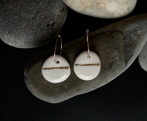 Round porcelain earrings
