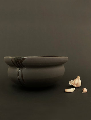 Black clay bowl, large -RWH5