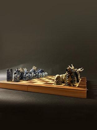 Handmade ceramic chess set
