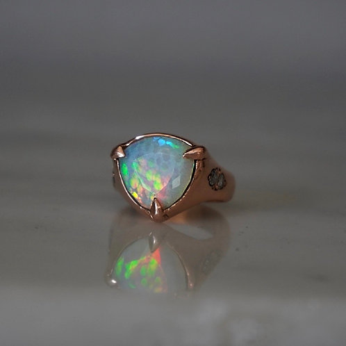 Honeycomb Opal Claw Ring