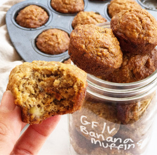 BANANA CHOCOLATE WALNUT MUFFINS vegan and option for gf