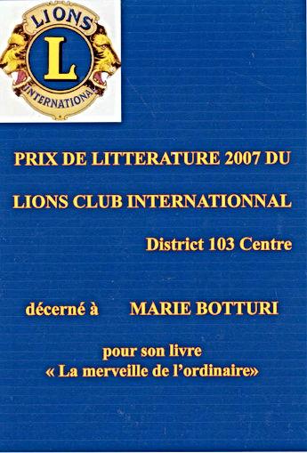 Prix de littérature 2007 de Lions Club international district 103 décerné à Marie Botturi