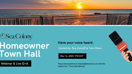 Sea Colony Town Hall Meeting 5/16 @ 1 pm
