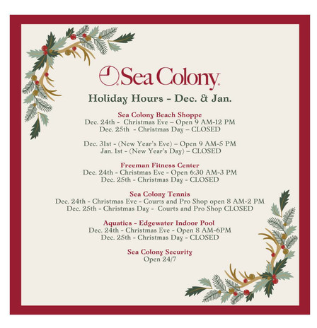 Holiday Hours - Dec. & Jan.