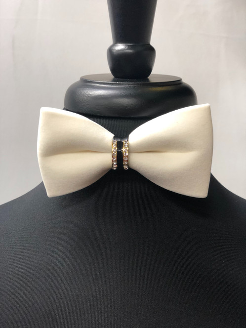 537969a39665 Off White Velvet Bow tie with gold emblem diamond encrusted