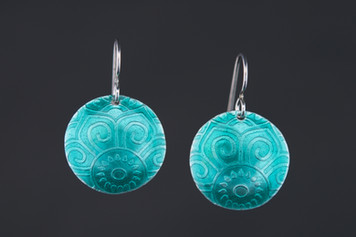 Teal Mandala Earrings