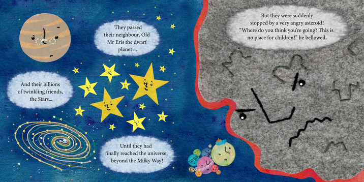 'Beyond the Milky Way' Childrens Book Illustration, Meeting the Asteriod