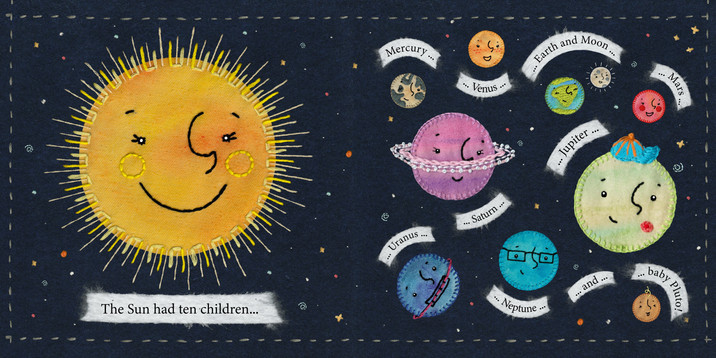 'Beyond the Milky Way' Childrens Book Illustration, The Sun and Her Children