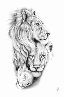 Lions Tattoo Design Commission