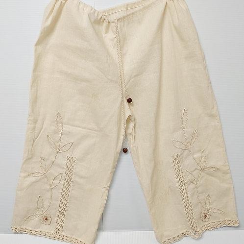Linen Crop Pants - Beige