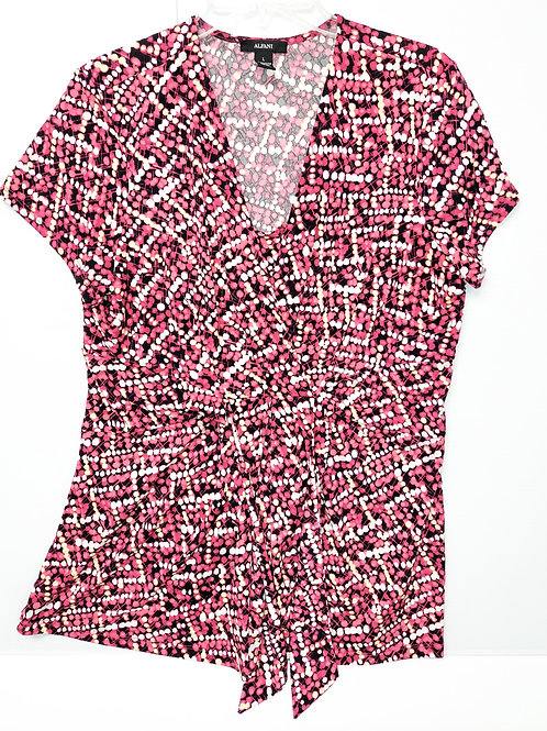 Blouse - Abstract black, pink & white