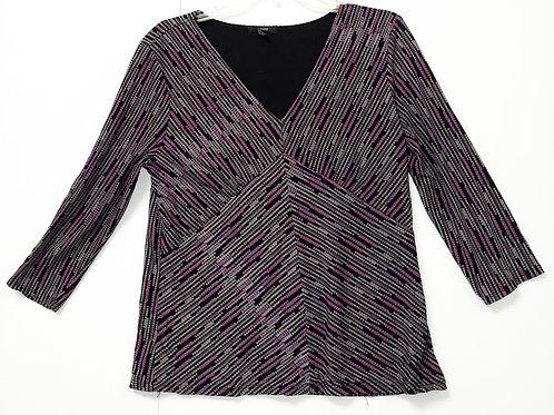 Blouse - Black, White, Purple