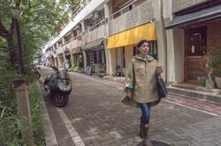 chibitoママの通園レインポンチョで街歩き