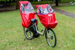 子供乗せ自転車用レインカバー レッド