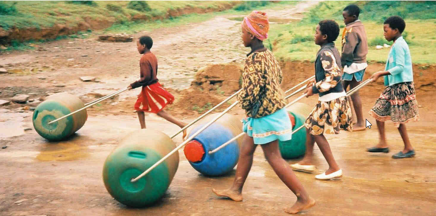 hippo rollers being used to transport water