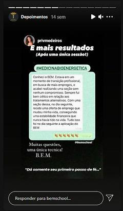 Depoimento de Resultados Medicina BioEnergética (B.E.M.)