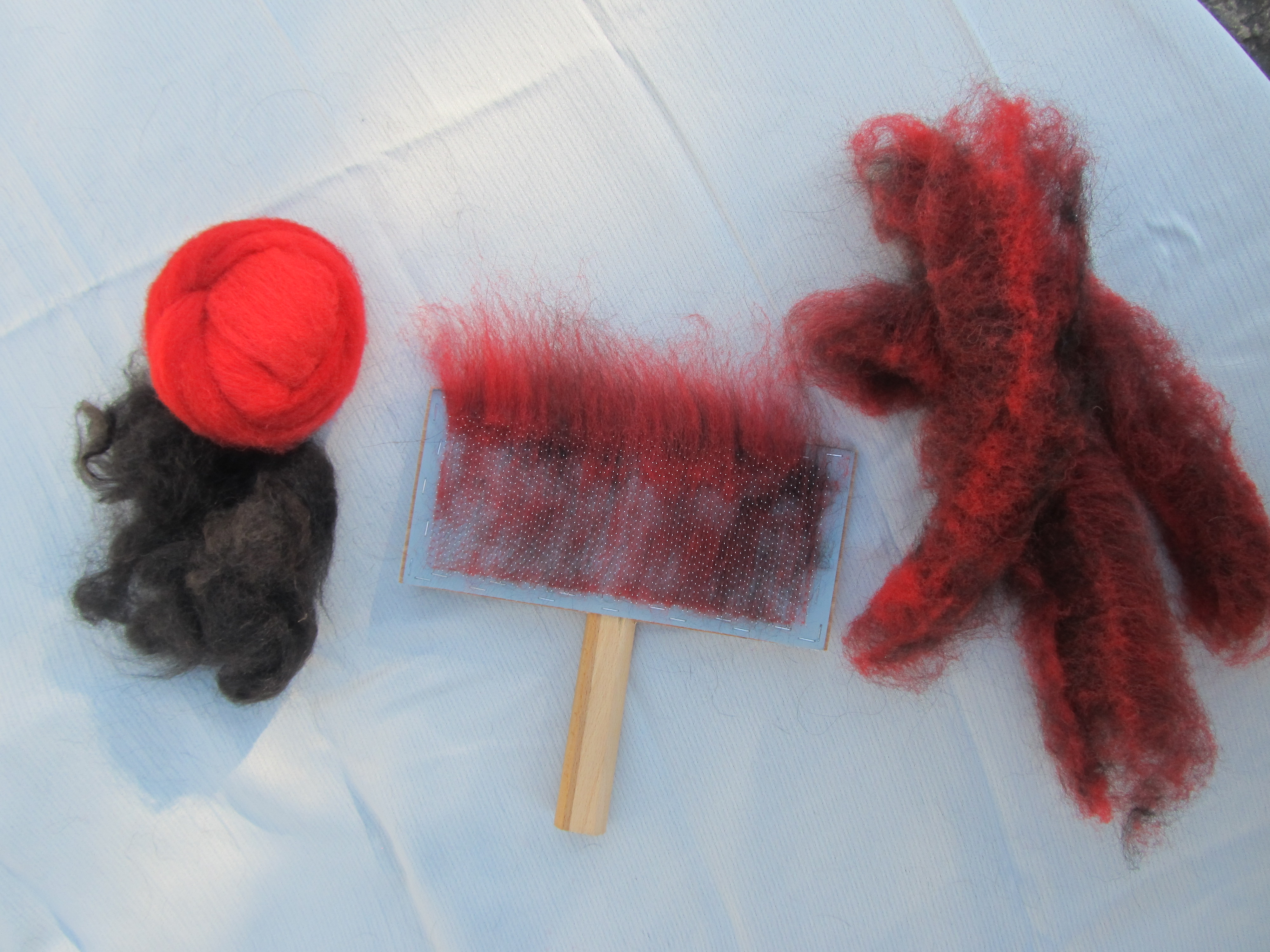 Red cheviot wool & black Newf fur