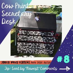 #8 Cow Print Secretary Desk