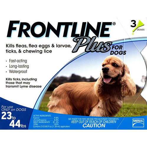 FRONTLINE PLUS FLEA & TICK 23-44 Lbs 3PK