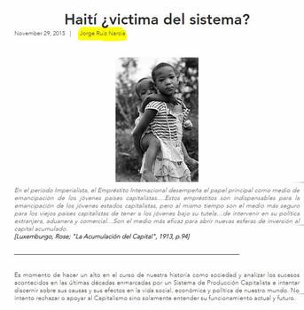 Análisis escrito por Jorge Ruiz Narcia sobre la situación socio-económica de Haití