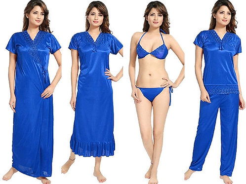 Mgrandbear  6 Piece Nighty with Robe, Top with Pyjama and Bra with Panty