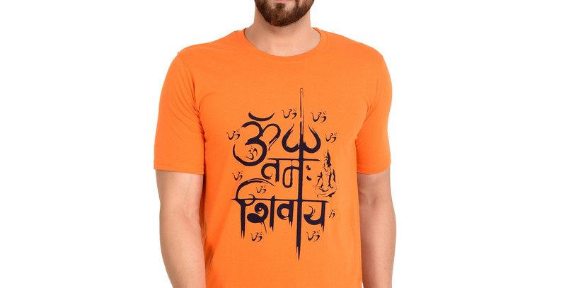 Orange Om Printed Cotton T-shirt For Men