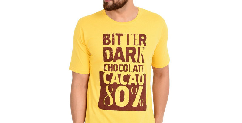 Yellow  Printed Cotton T-shirt For Men