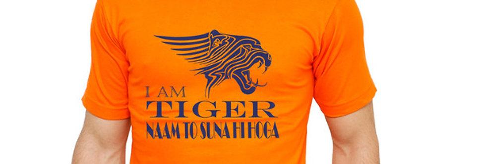 Orange Tiger Printed Cotton T-shirt For Men