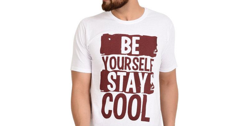 White BECOOL Printed Cotton Tshirt For Men