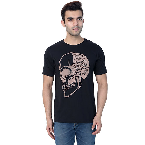 Black Skull Prited Cotton Tshirt For Men