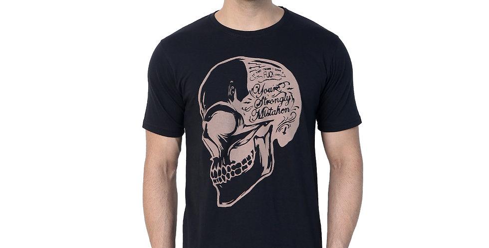 Black Skull Prited Cotton Tshirt For Men