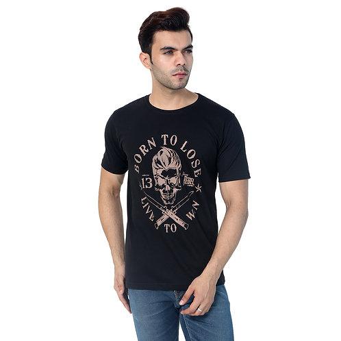 Black Born Printed Cotton Tshirt For Men