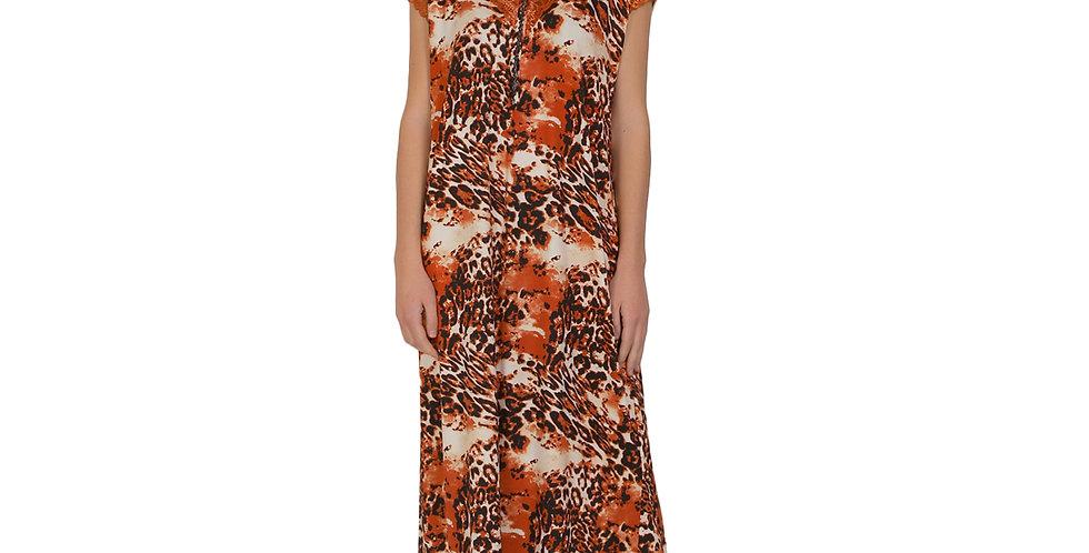 MGrandbear Tiger Printed Sinker Cotton Nighty/Night Gown/Night Dress for Women