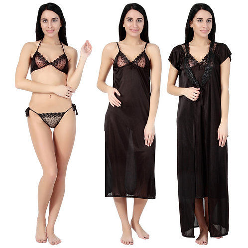 MGrandBear 4 pc Satin Nighty For Women Robe,Gown,Bra, penty Set