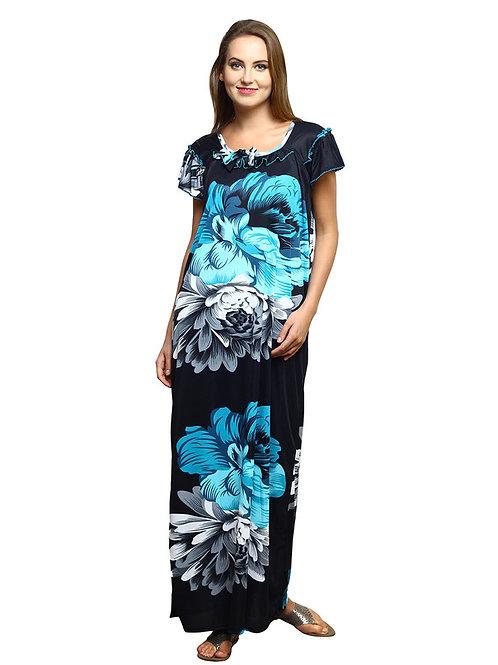 MGrandBear Flower Satin Nighty For Women Bust Size upto 42 Inch
