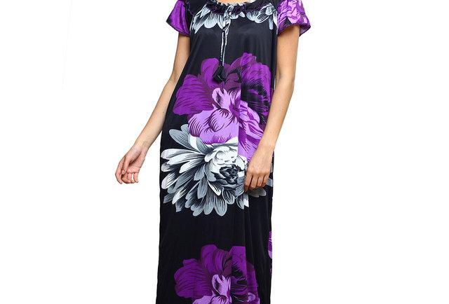 MGrandBear Flower Satin Nighty For Women