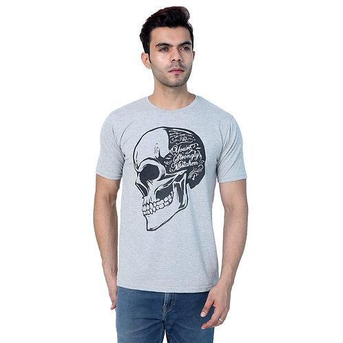 Grey Skull Printed Cotton Tshirt For Men