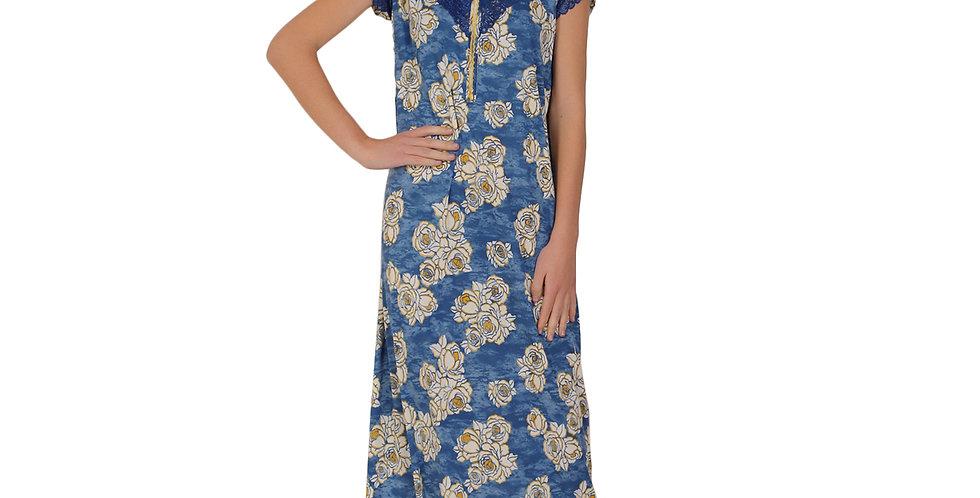 MGrandbear Floral Printed Sinker Cotton Nighty/Night Gown/Night Dress for Women