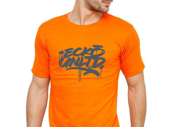 Orange ECHO Printed Cotton T-shirt For Men