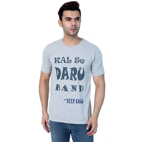 GREY Kal Se daru band Printed Cotton T-Shirt For Men