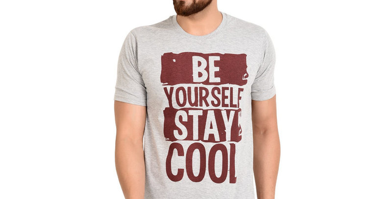 Grey BECOOL Printed Cotton Tshirt For Men