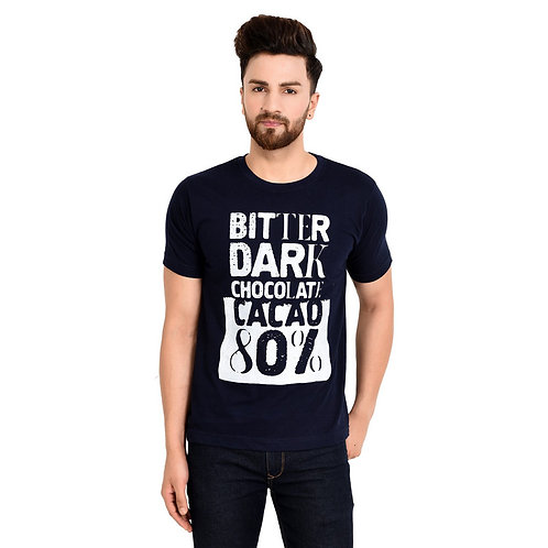 Navy Blue  Printed Cotton T-shirt For Men