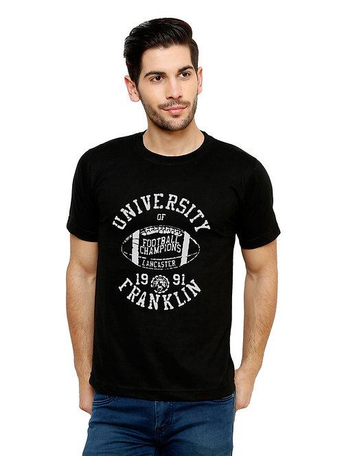 Black University Printed Cotton T-Shirt For Men
