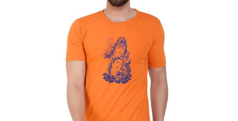 Sankar parvati Orange Printed Cotton Tshirt For Men