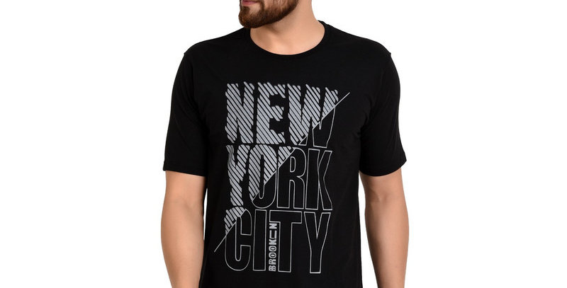 Black NYC Printed Cotton Tshirt For Men