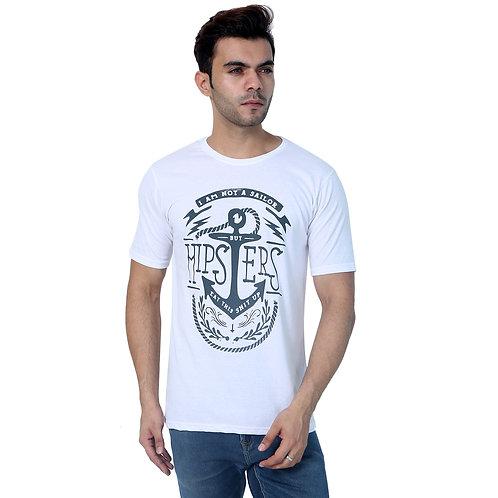 White Cotton Printed Tshirt For Men