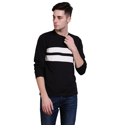 Black full sleeve cotton T-shirt for men