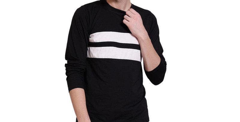 Black full sleeve cotton T-shirt for men