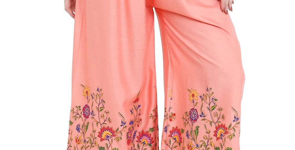 MGrandBear Floral Printed Rayon Palazzo for Women